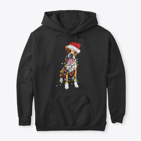 Christmas Boxer Dog Lovers Black T-Shirt Front
