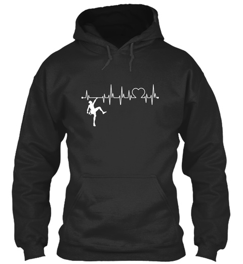 Climbing Always In My Heartbeat Jet Black T-Shirt Front