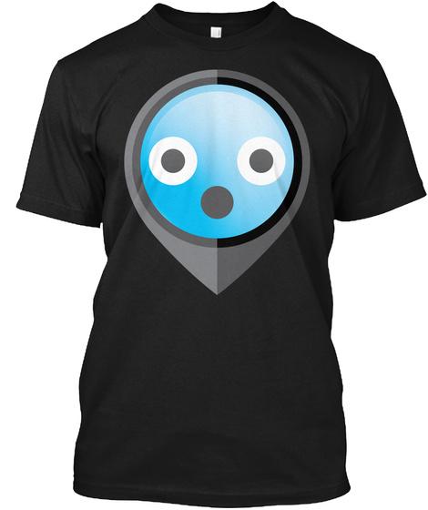Pointer Emoji Shocked And Surprised Look Black T-Shirt Front