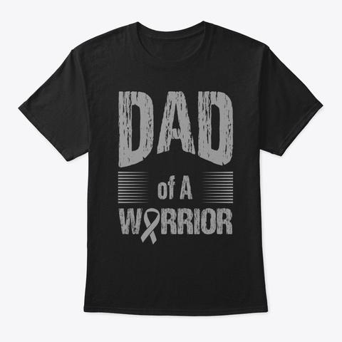 Brain Cancer Dad Of Warrior Autism Black T-Shirt Front