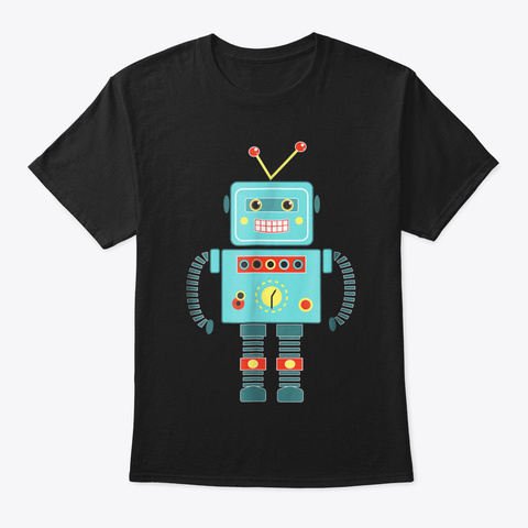 Cute Vintage & Retro Robot Art  Science  Black T-Shirt Front