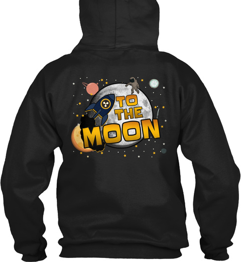 To The Moon Black T-Shirt Back