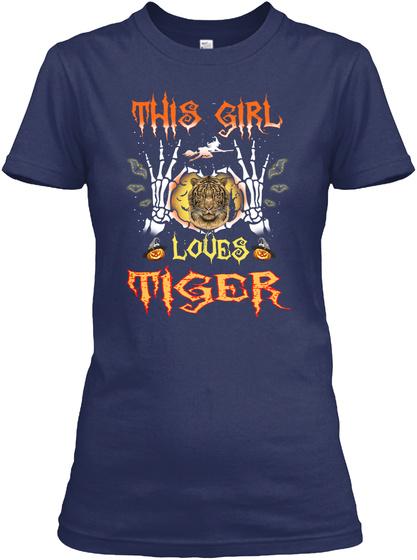 Girl Loves Tiger Halloween Navy T-Shirt Front