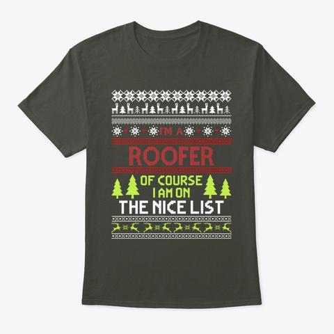 Ugly Christmas Gift Roofer On The Tee Smoke Gray T-Shirt Front