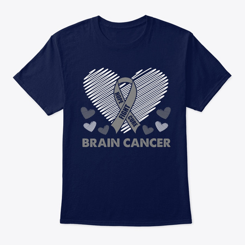 Hope Fight Cure Brain Cancer Navy T-Shirt Front
