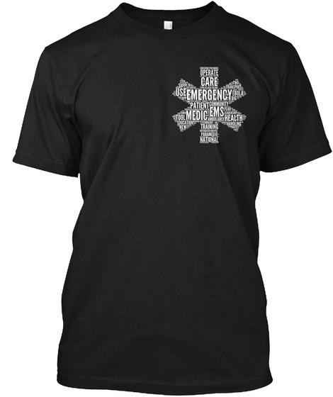 Wear The Emt Word Cloud Shirt? Black T-Shirt Front