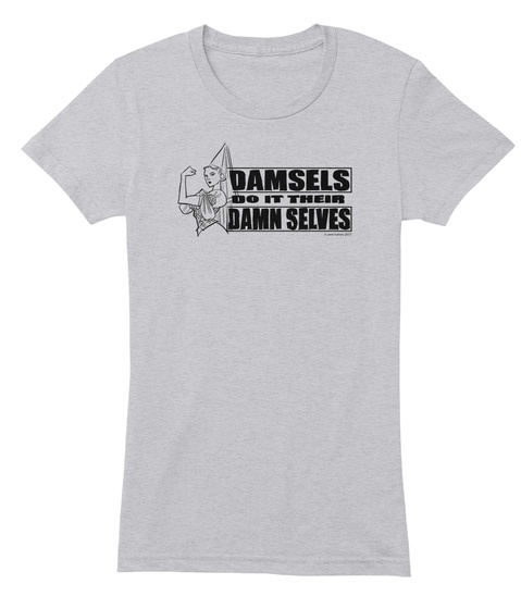 Damsels Do It Their Damn Selves Heather Grey T-Shirt pour Femme Front