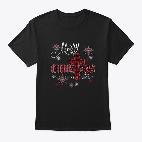Merry Christmas Cross Buffalo Plaid Chri Black T-Shirt Front