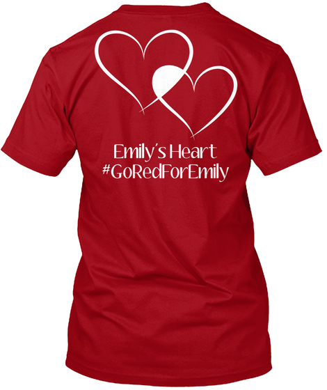 Emily's Heart #Goredforemily Deep Red T-Shirt Back