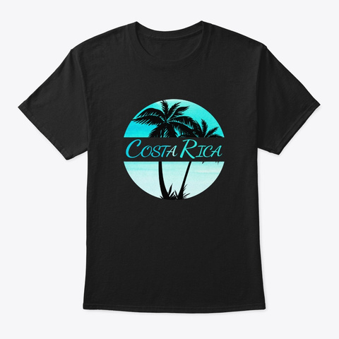 Costa Rica Caribbean Palm Trees Black T-Shirt Front