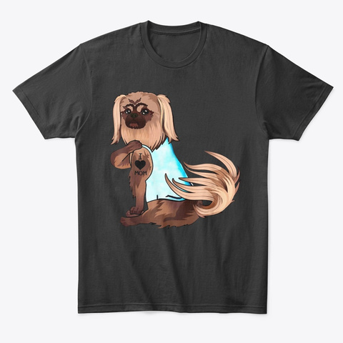 Pekingese Dog I Love Mom Tattoo Black áo T-Shirt Front