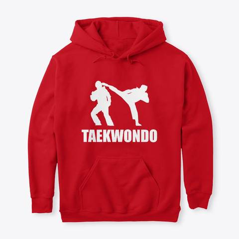 Taekwondo Fighter Hoodie (Cny1901) Red T-Shirt Front