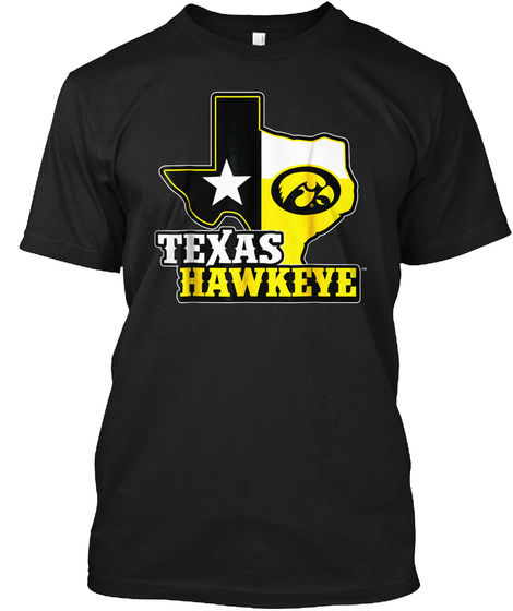 Iowa Hawkeyes Map Mascot T Shirt   Appar Black T-Shirt Front