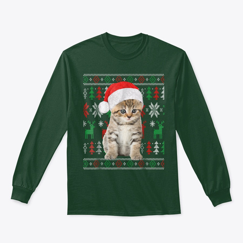 Cat Christmas Shirt Ugly Xmas Sweater Forest Green T-Shirt Front