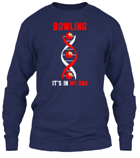 Bowling It's In My Dna Navy T-Shirt Front