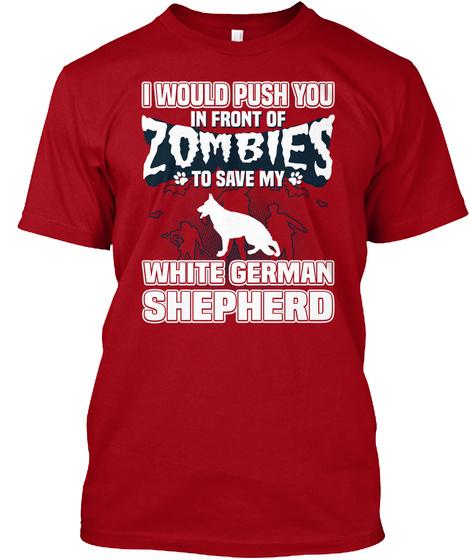 White German Shepherd Deep Red T-Shirt Front