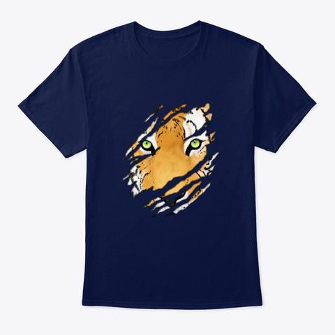 Tiger In Me Wildlife Art Navy T-Shirt Front