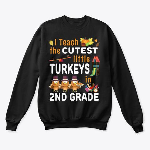 Thanksgiving 2nd Grade Teacher Gift Black T-Shirt Front