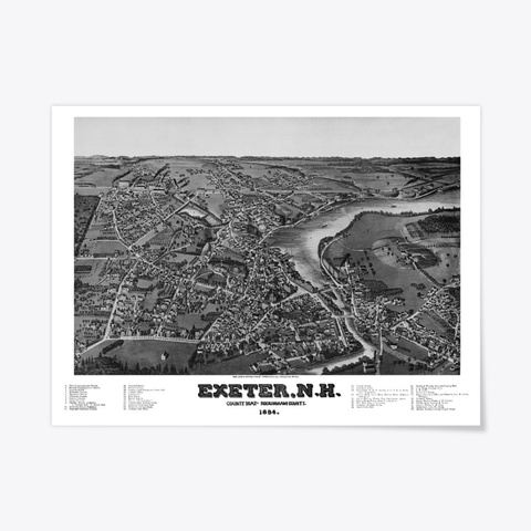Exeter, Nh 1884 Map Standard T-Shirt Front