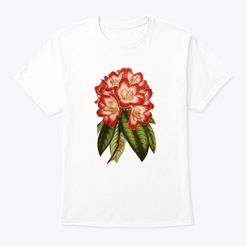 Botanical Vintage Flower White T-Shirt Front