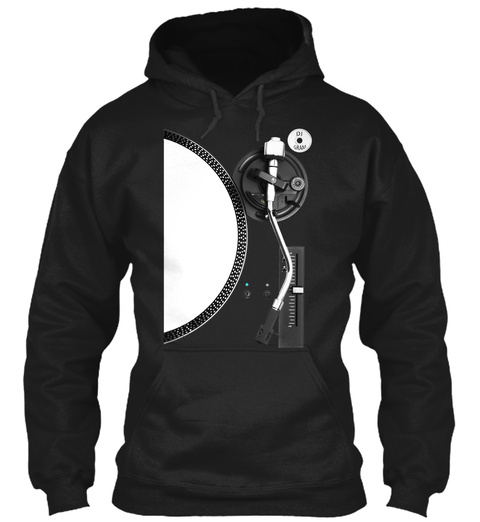 Dj Gram Turntable Hoodie   Black Edition Black T-Shirt Front