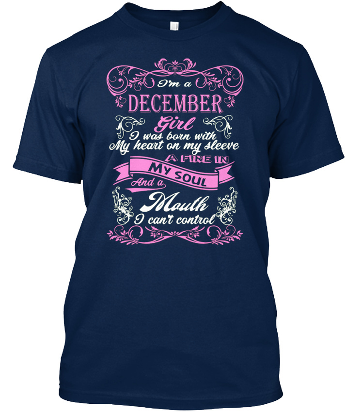 Sensational-December-Girl-Born-With-Heart-On-Sleeve-Stylisches-T-Shirt-S-5XL