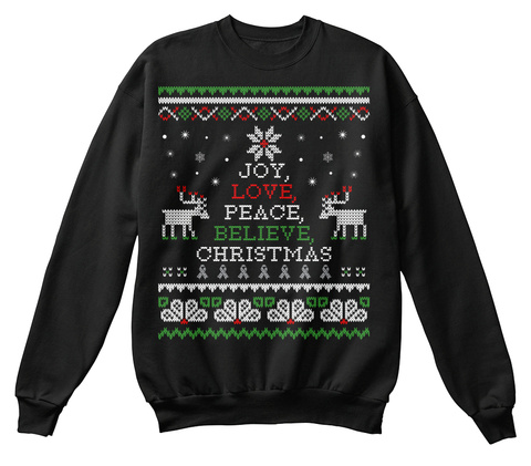 Christmas Sweatshirt | Brain Cancer Black T-Shirt Front