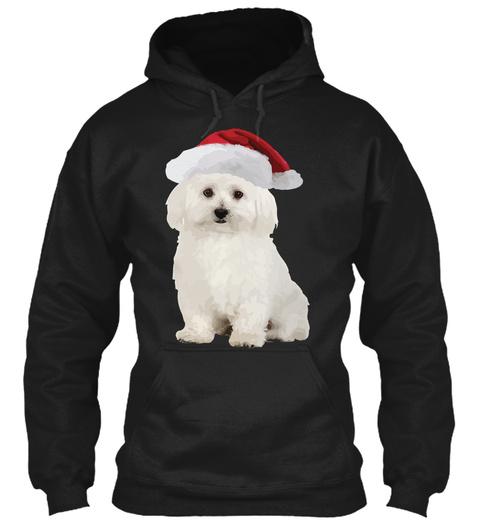 Bichon Frise Santa Claus Christmas Ugly  Black T-Shirt Front