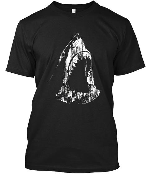 Cool Shark Graphic Sketch T Shirt Black T-Shirt Front