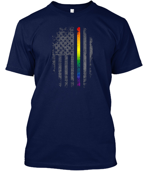 Lgbt Us Flag Tshirt Navy T-Shirt Front