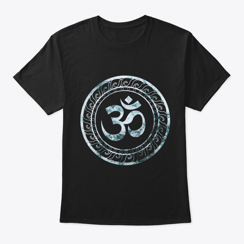 Om Ohm Aum Symbol Print Spiritual Yoga Black T-Shirt Front