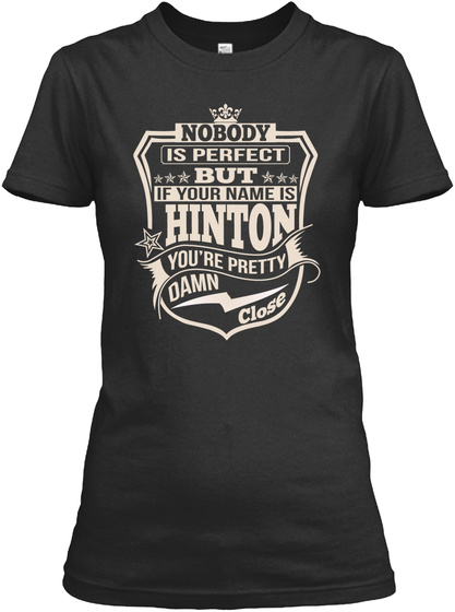 Nobody Perfect Hinton Thing Shirts Black T-Shirt Front