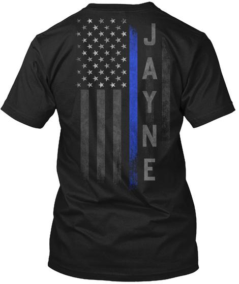 Jayne Family Thin Blue Line Flag Black T-Shirt Back