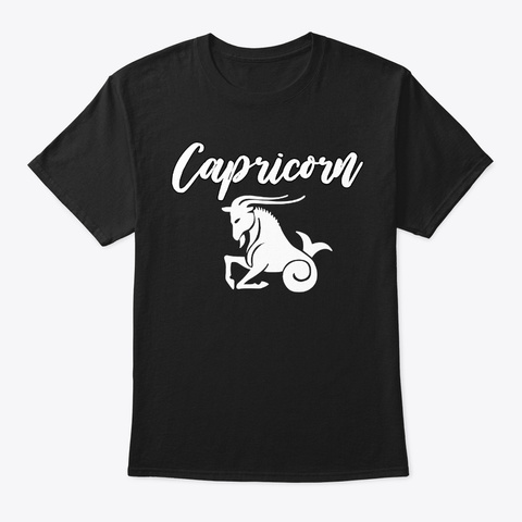 January 10   Capricorn Black T-Shirt Front