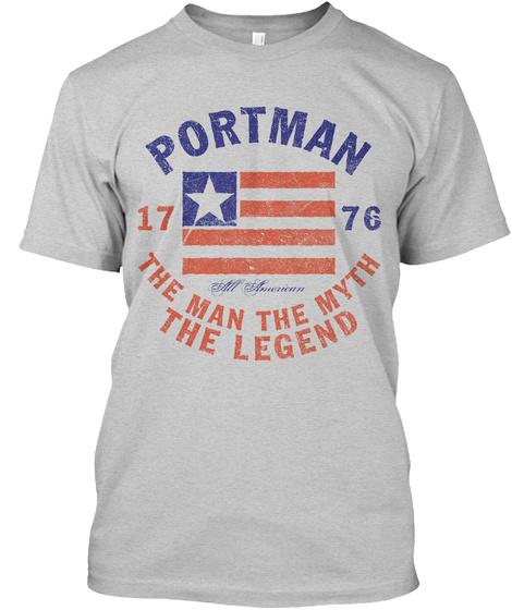 Portman American Man Myth Legend Light Steel T-Shirt Front