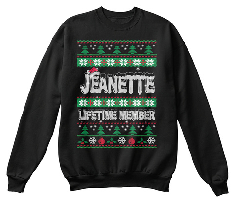 Jeanette Ugly Christmas Sweaters Black T-Shirt Front