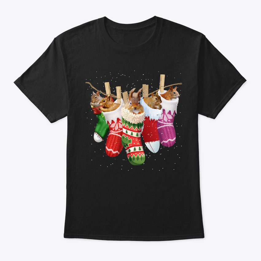 squirrel sock merry christmas hanes tagless tee