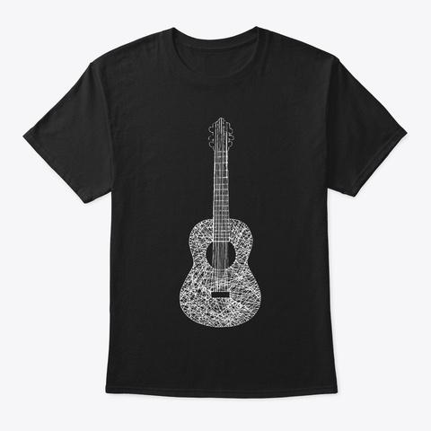 Guitar White Art Black T-Shirt Front