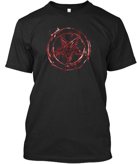 Bloody Baphomet Satanic Tshirt 666 Black T-Shirt Front