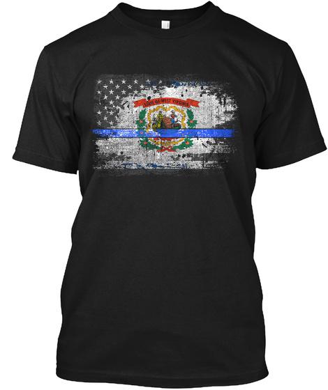 West Virginia Thin Blue Line Flag Black T-Shirt Front
