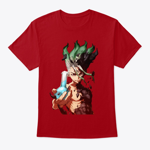 Dr Stone Anime  T Shirts Deep Red T-Shirt Front