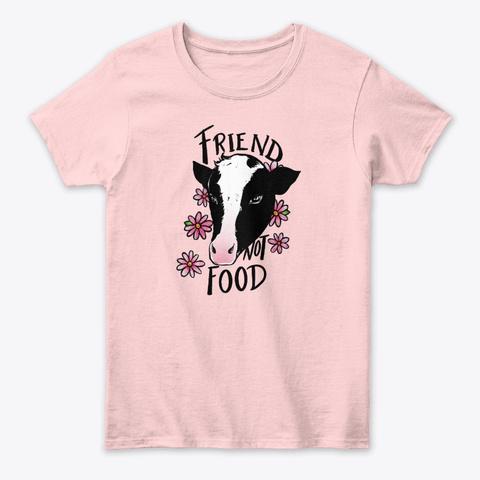 Friend Not Food Vegan Art Light Pink T-Shirt Front