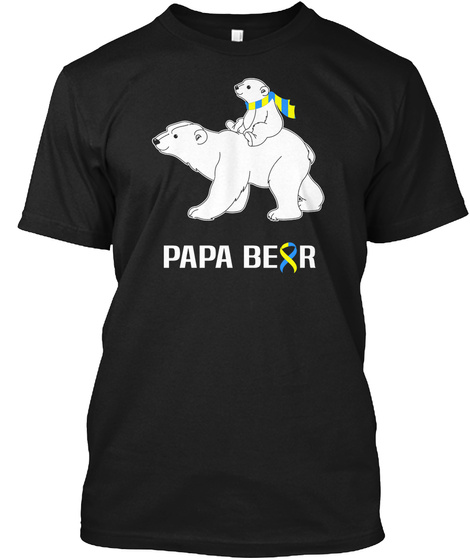 Papa Bear Black T-Shirt Front