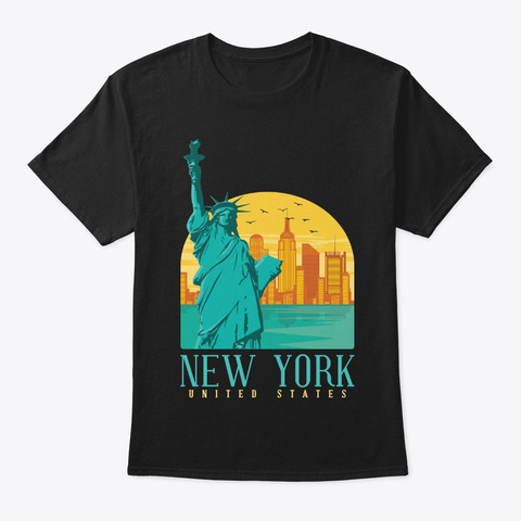 Nyc Skyline Statue Of Liberty New York Black T-Shirt Front