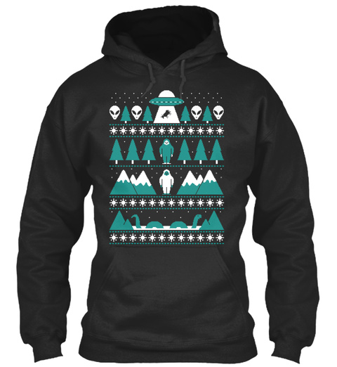Paranormal Christmas Sweater Jet Black T-Shirt Front