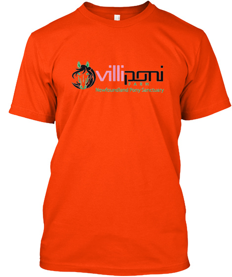 Villiponi Farm Newfoundland Pony Sanctuary Orange T-Shirt Front