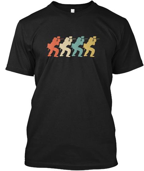 Retro Paintball Pop Art Black T-Shirt Front