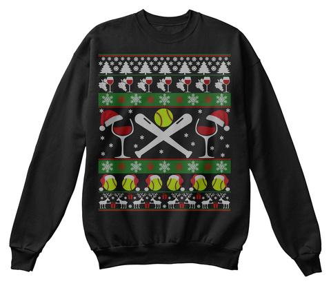 Ugly Wine Softball Christmas Sweater Tee Black T-Shirt Front