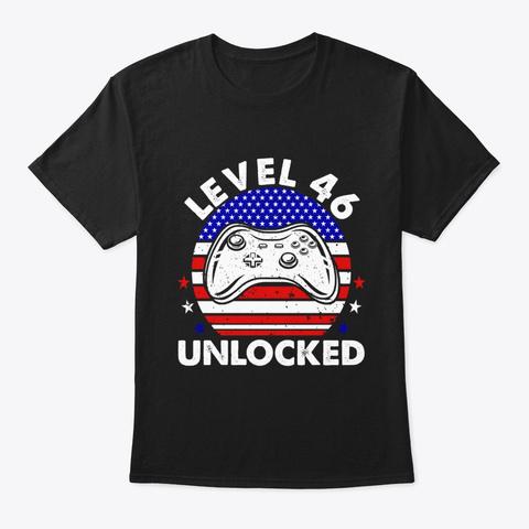 Level 46 Unlocked Video Gamer T Shirt Black T-Shirt Front