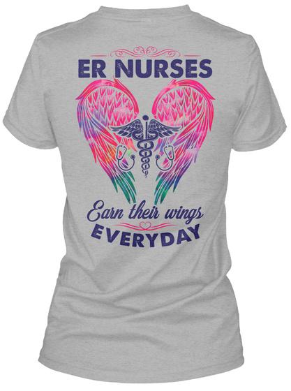 Er Nurses Earn Their Wings Everyday Sport Grey T-Shirt Back